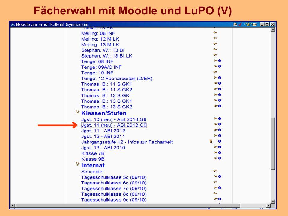 Fächerwahl mit Moodle und LuPO (V)