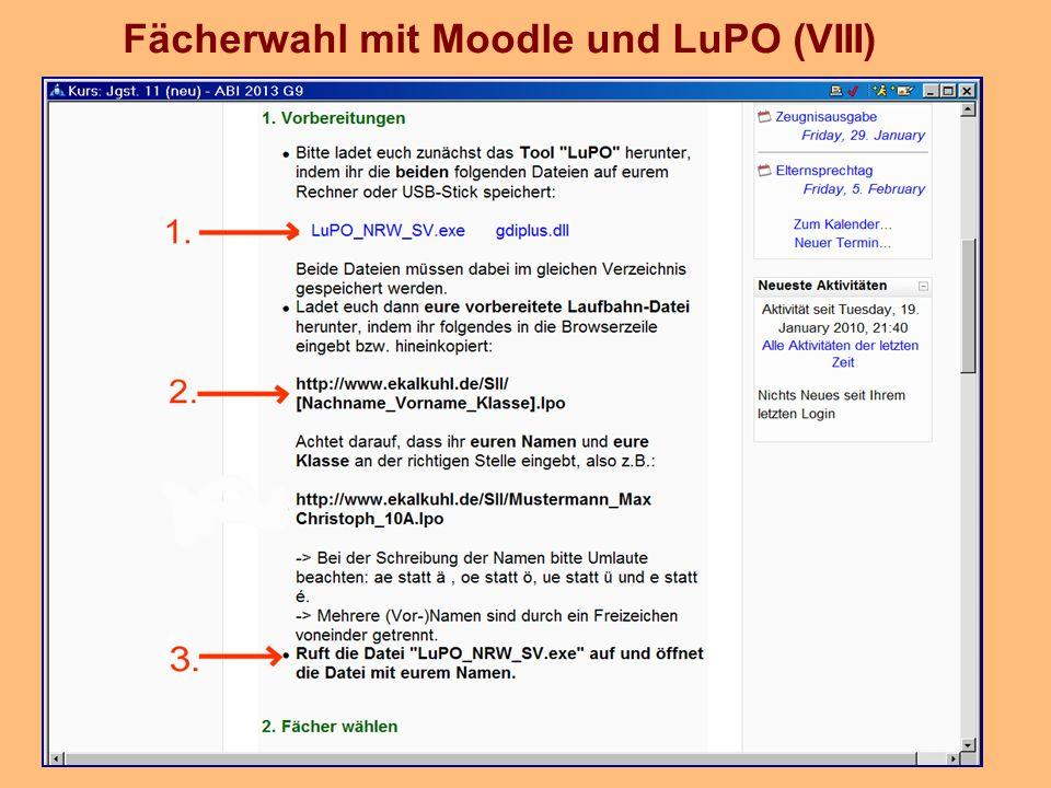 Fächerwahl mit Moodle und LuPO (VIII)