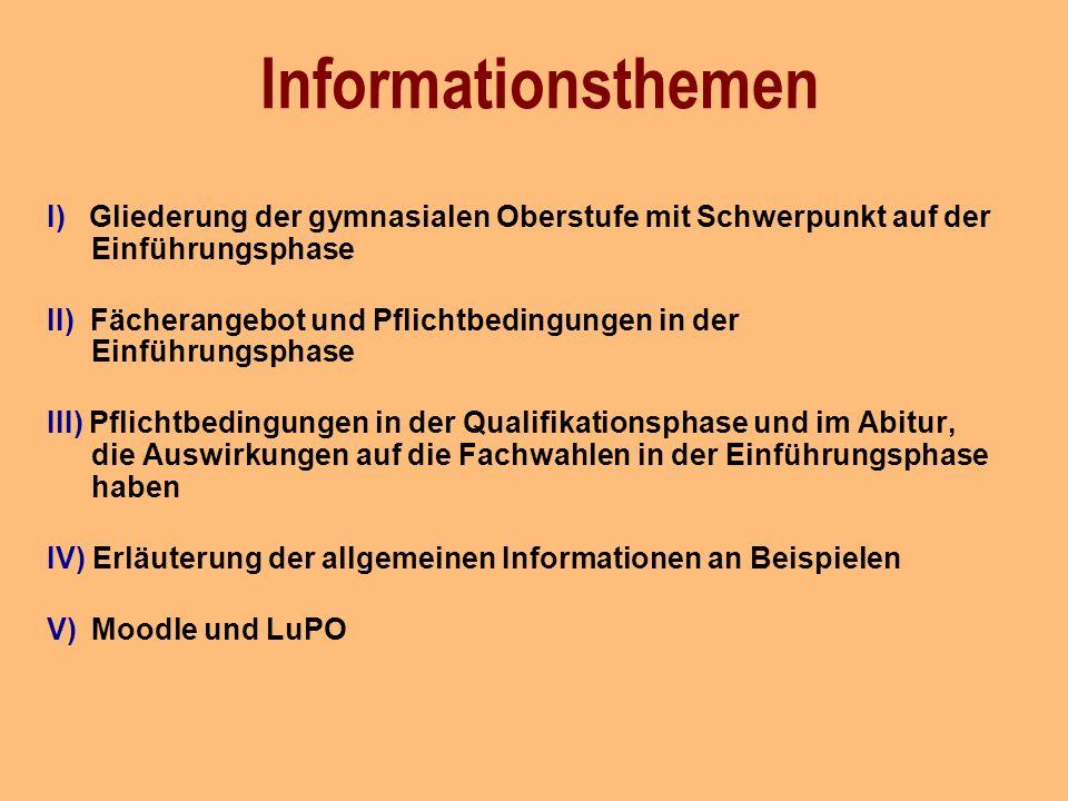 Informationsthemen I) Gliederung der gymnasialen Oberstufe mit Schwerpunkt auf der Einführungsphase.