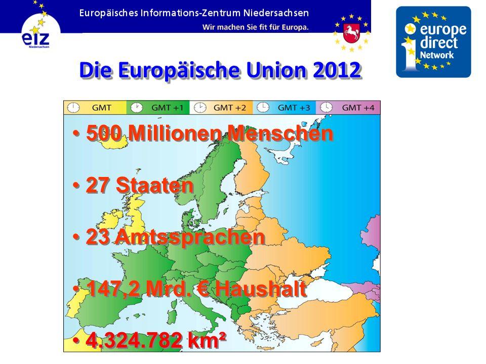 Die Europäische Union 2012 500 Millionen Menschen 27 Staaten