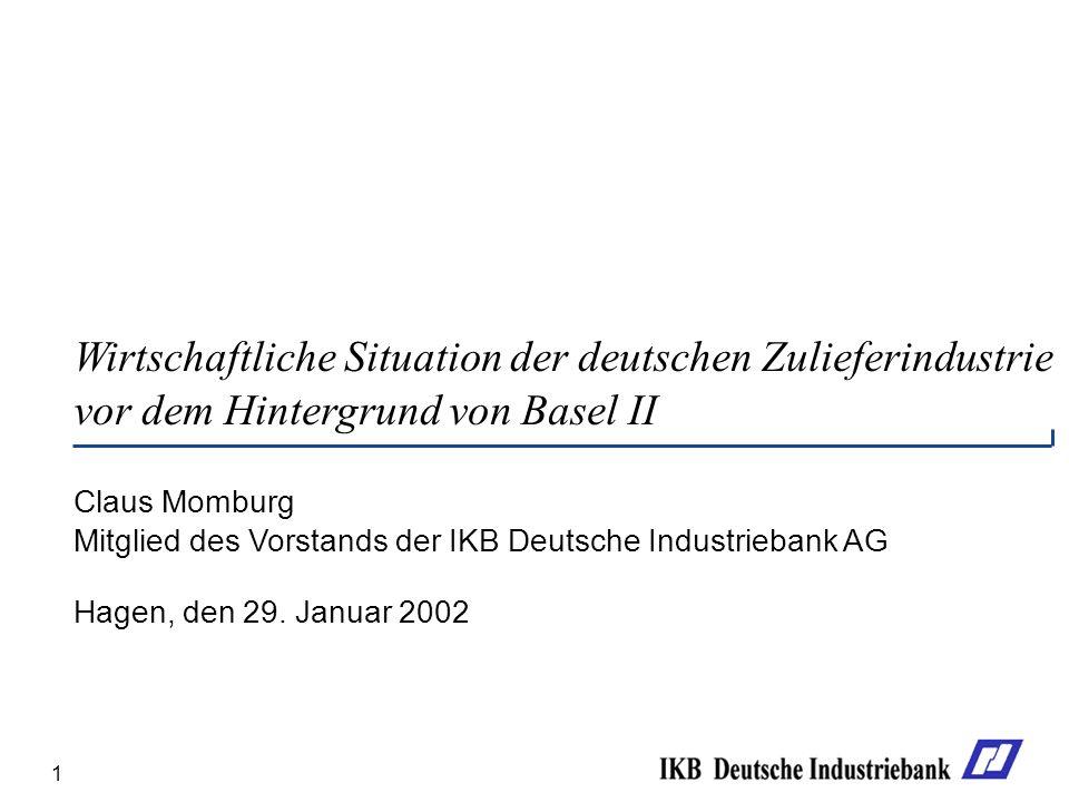 Wirtschaftliche Situation der deutschen Zulieferindustrie