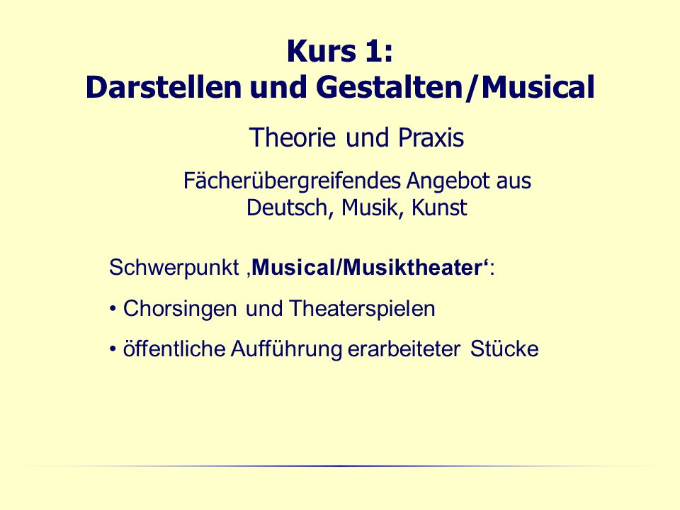 Kurs 1: Darstellen und Gestalten/Musical