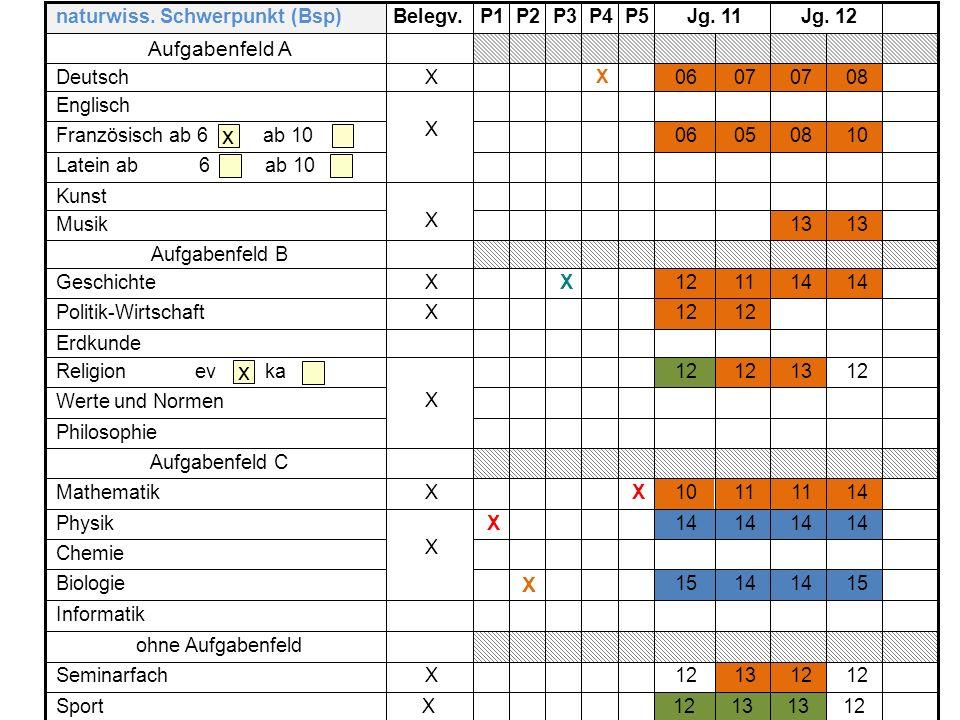 x x Aufgabenfeld A X naturwiss. Schwerpunkt (Bsp) Belegv. P1 P2 P3 P4