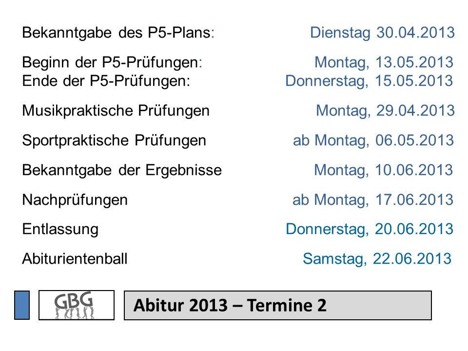 Bekanntgabe des P5-Plans: Dienstag 30. 04