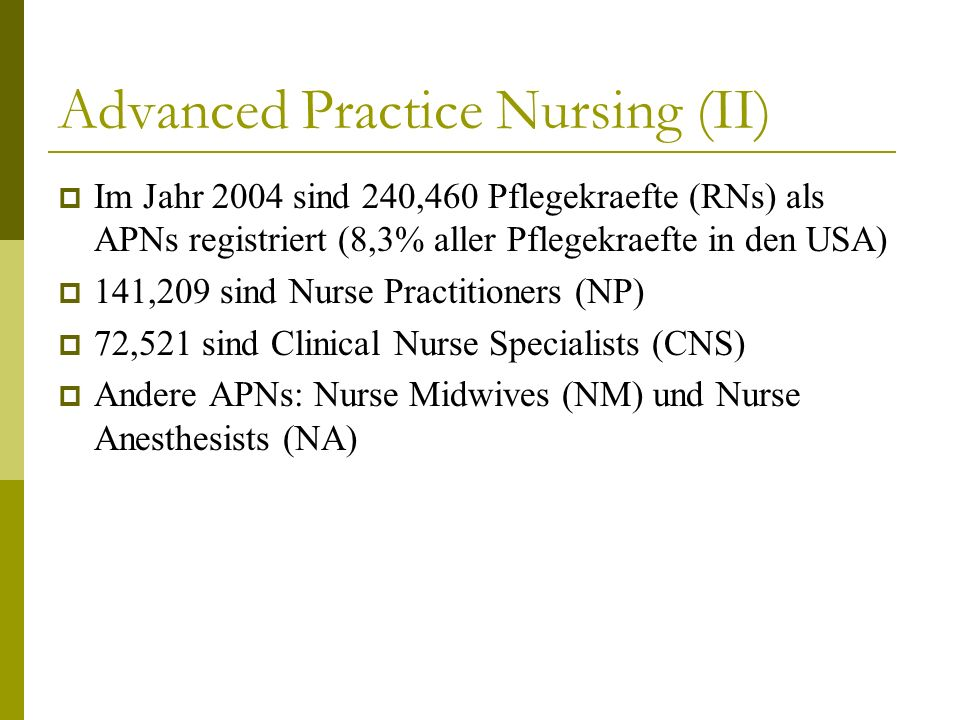 Advanced Practice Nursing (II)