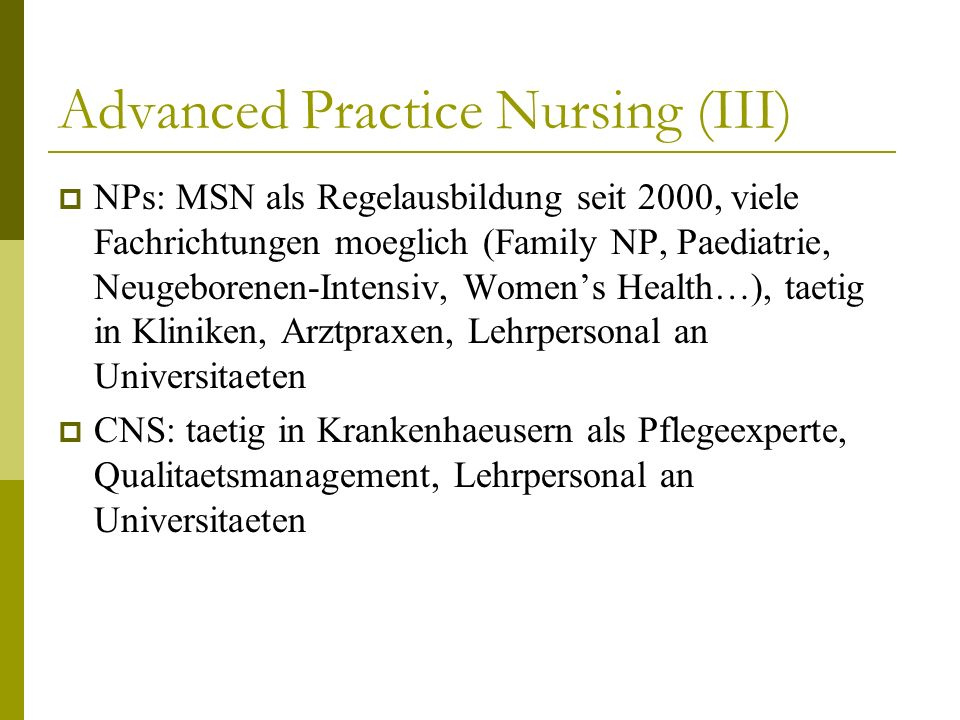 Advanced Practice Nursing (III)
