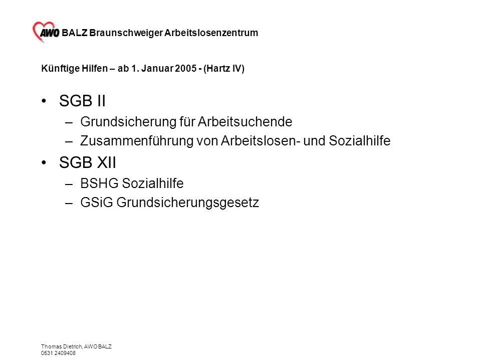 Künftige Hilfen – ab 1. Januar 2005 - (Hartz IV)