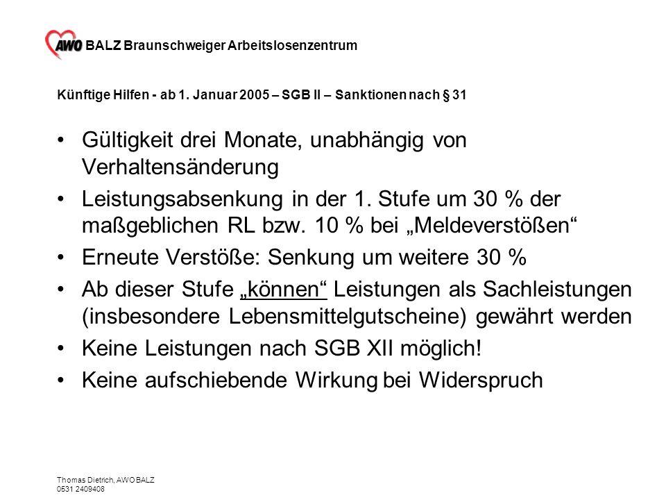 Künftige Hilfen - ab 1. Januar 2005 – SGB II – Sanktionen nach § 31