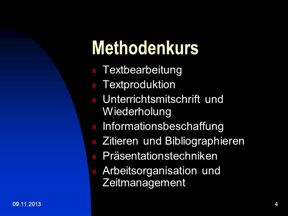 Methodenkurs Textbearbeitung Textproduktion