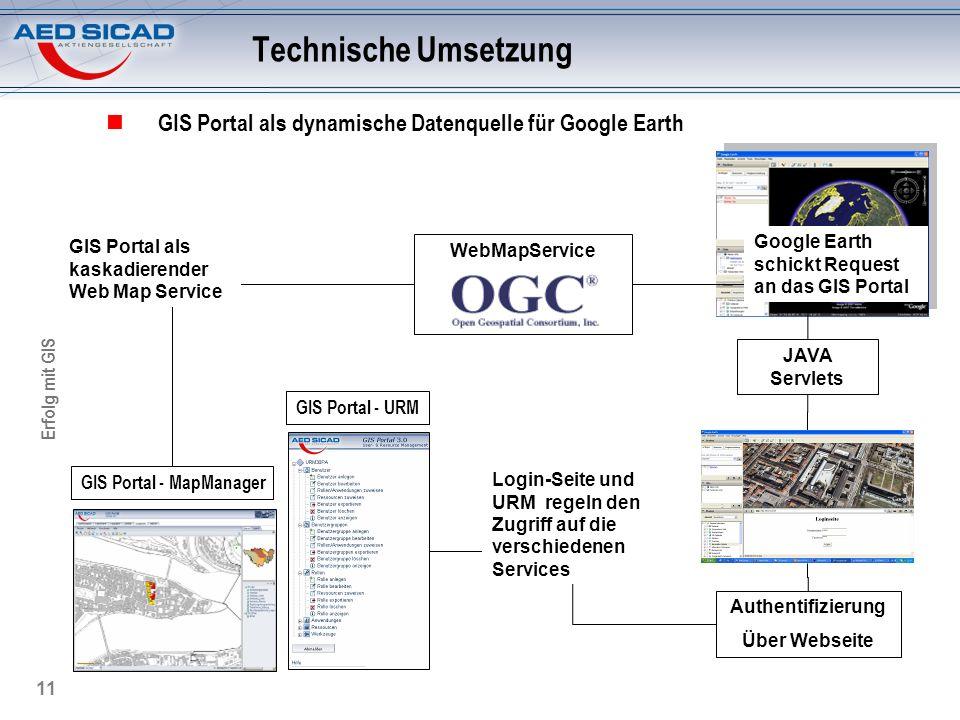 Technische Umsetzung GIS Portal als dynamische Datenquelle für Google Earth. GIS Portal als kaskadierender Web Map Service.