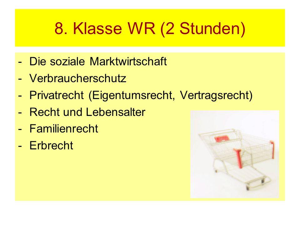 8. Klasse WR (2 Stunden) Die soziale Marktwirtschaft Verbraucherschutz