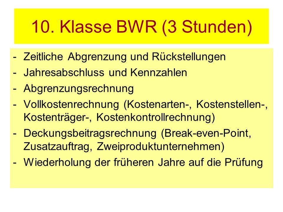 10. Klasse BWR (3 Stunden) Zeitliche Abgrenzung und Rückstellungen