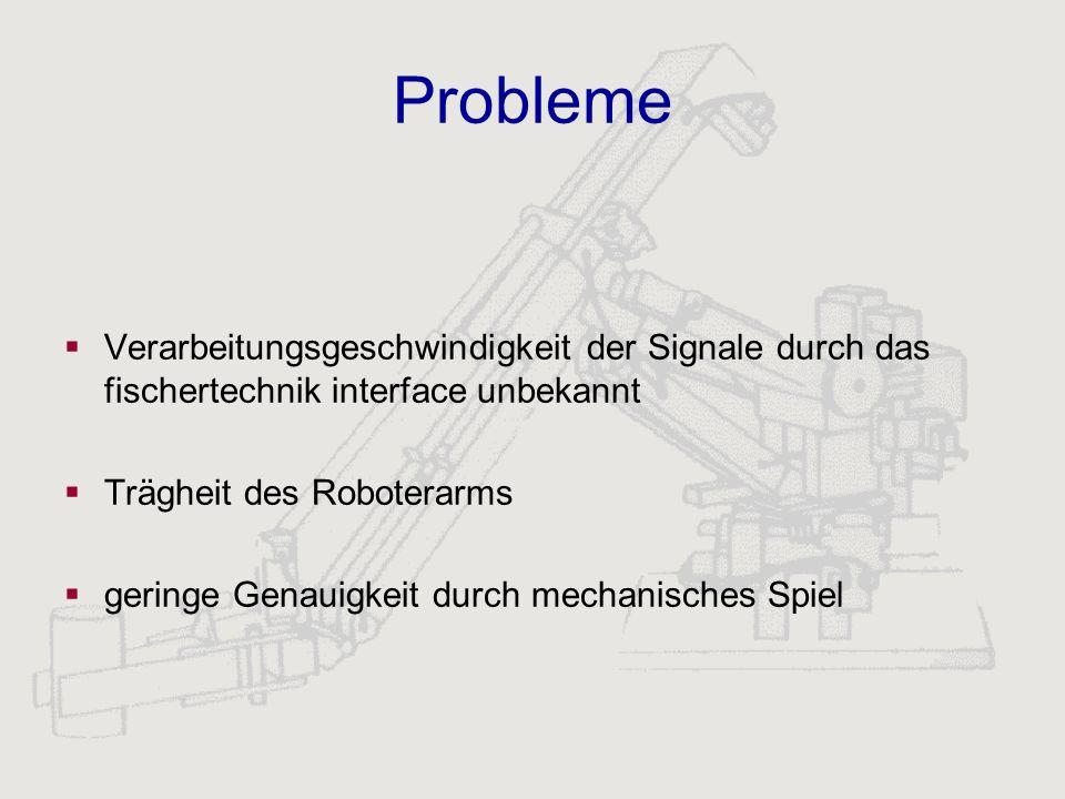 Probleme Verarbeitungsgeschwindigkeit der Signale durch das fischertechnik interface unbekannt. Trägheit des Roboterarms.