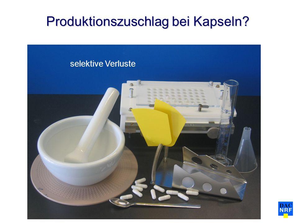 Produktionszuschlag bei Kapseln