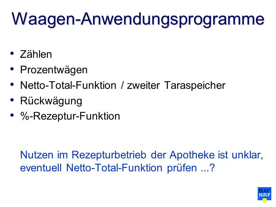 Waagen-Anwendungsprogramme