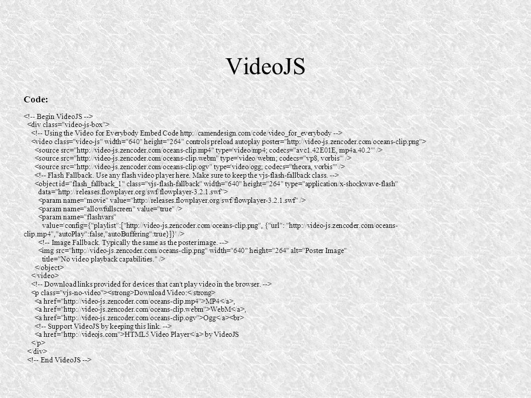 VideoJS Code: <!-- Begin VideoJS -->
