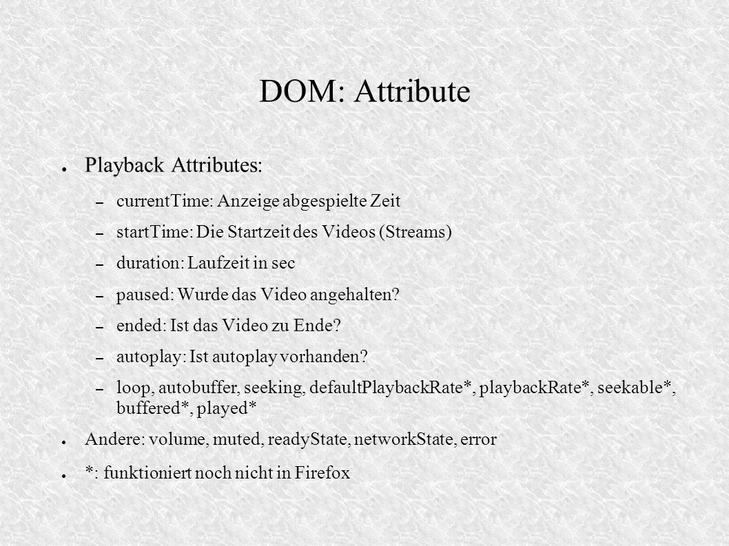DOM: Attribute Playback Attributes: