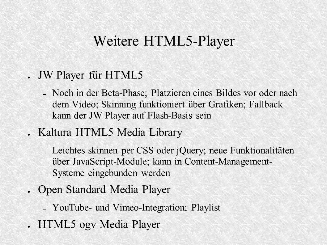 Weitere HTML5-Player JW Player für HTML5 Kaltura HTML5 Media Library