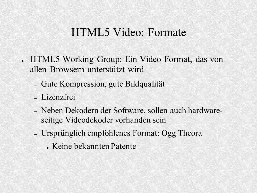 HTML5 Video: Formate HTML5 Working Group: Ein Video-Format, das von allen Browsern unterstützt wird.