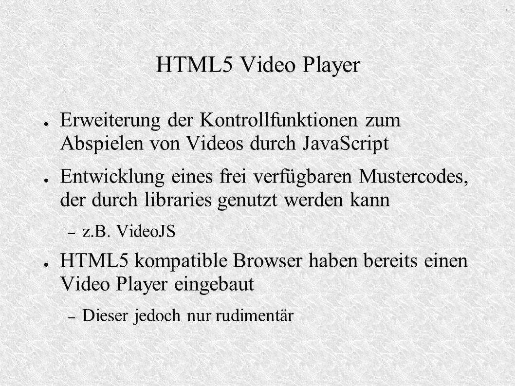 HTML5 Video Player Erweiterung der Kontrollfunktionen zum Abspielen von Videos durch JavaScript.