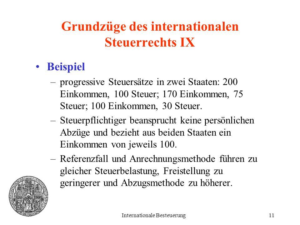 Grundzüge des internationalen Steuerrechts IX