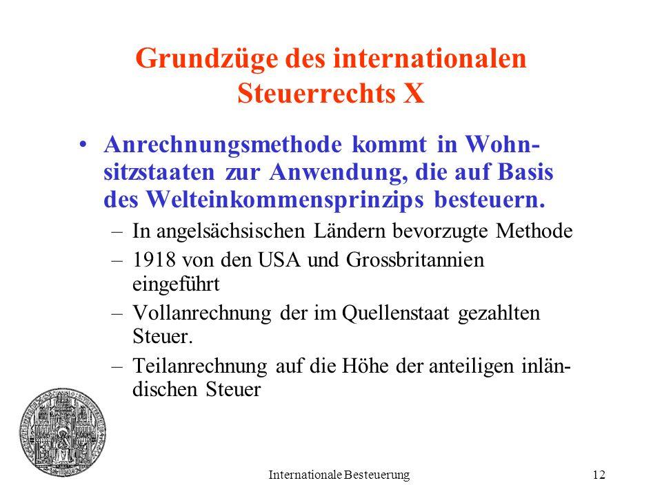Grundzüge des internationalen Steuerrechts X