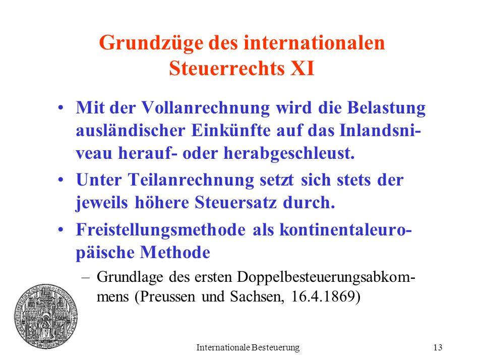 Grundzüge des internationalen Steuerrechts XI