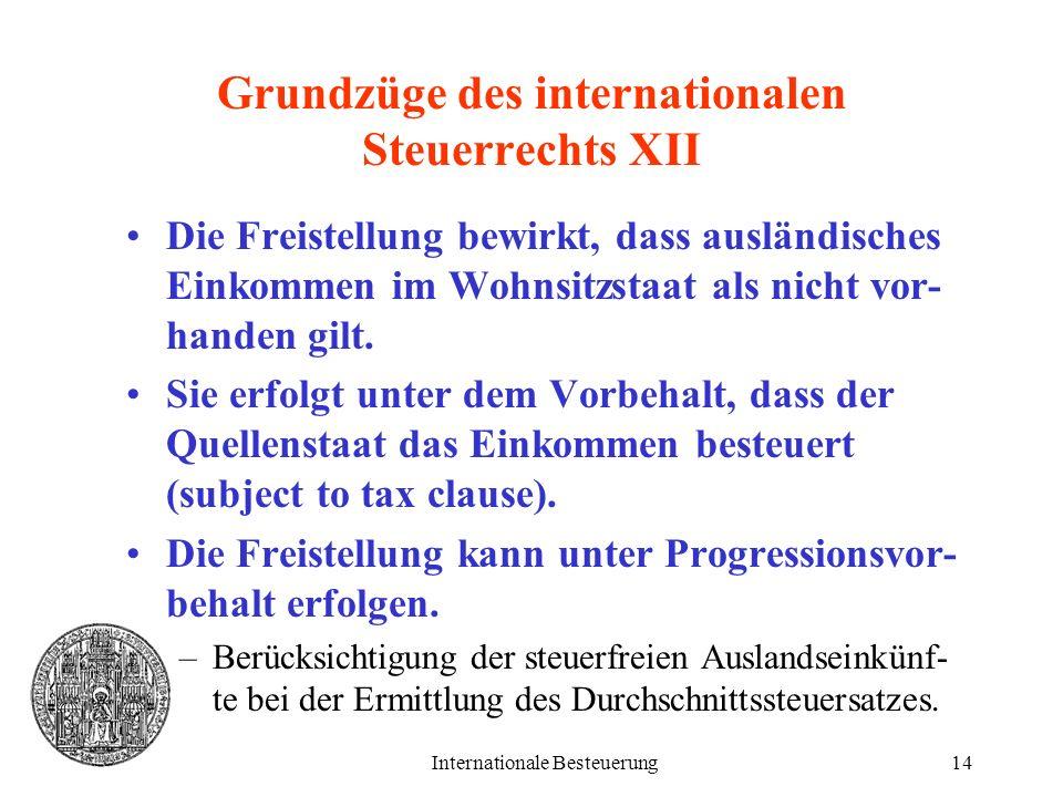 Grundzüge des internationalen Steuerrechts XII