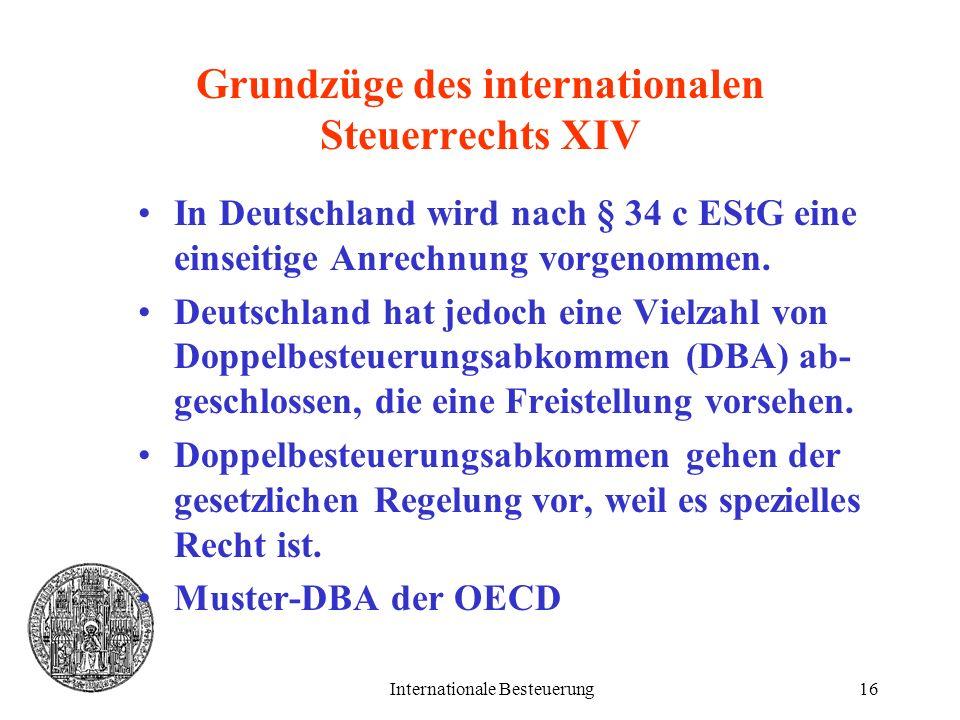 Grundzüge des internationalen Steuerrechts XIV