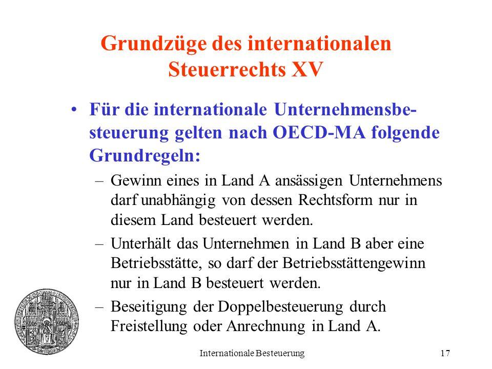 Grundzüge des internationalen Steuerrechts XV