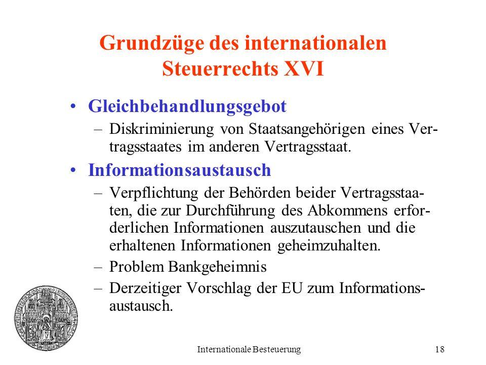 Grundzüge des internationalen Steuerrechts XVI