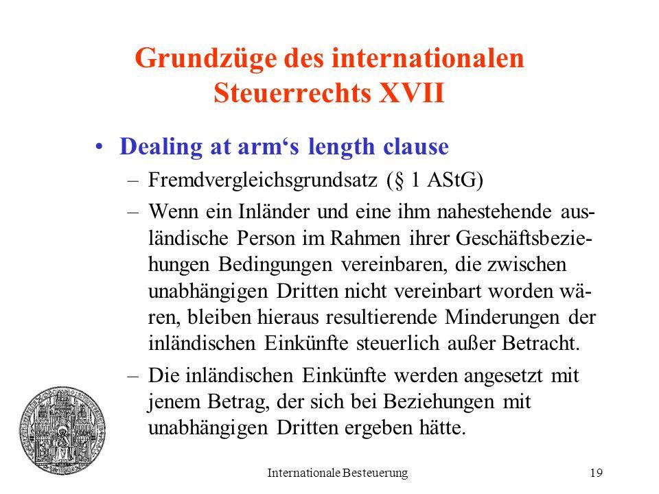 Grundzüge des internationalen Steuerrechts XVII