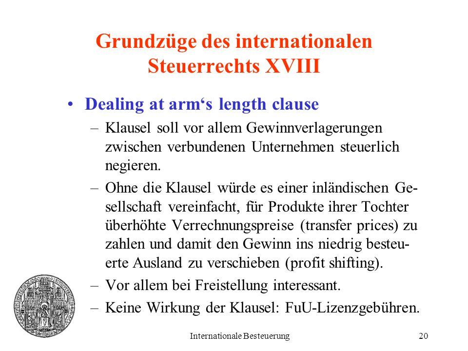 Grundzüge des internationalen Steuerrechts XVIII