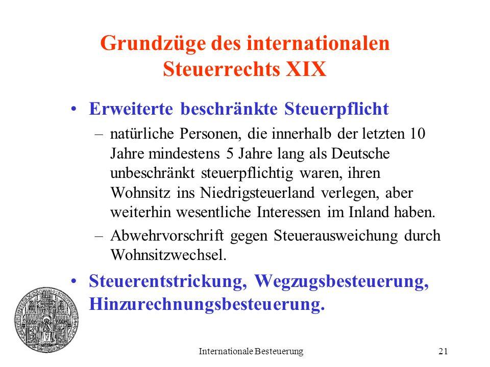 Grundzüge des internationalen Steuerrechts XIX
