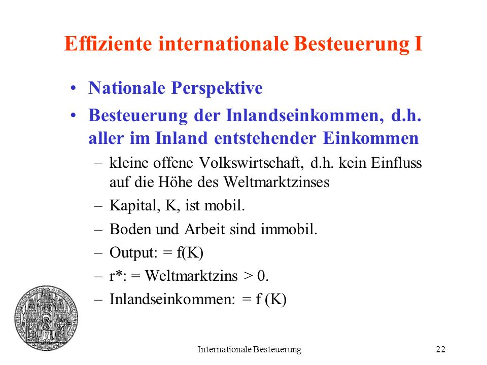 Effiziente internationale Besteuerung I