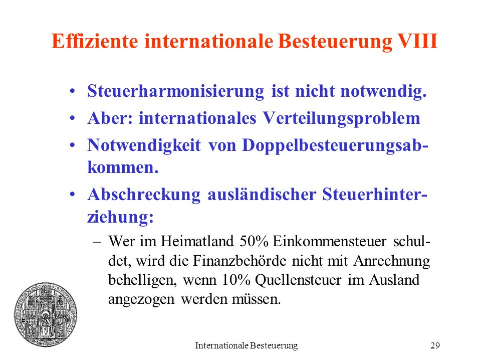 Effiziente internationale Besteuerung VIII