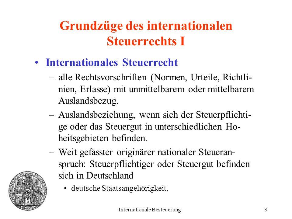 Grundzüge des internationalen Steuerrechts I