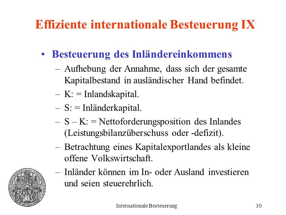 Effiziente internationale Besteuerung IX