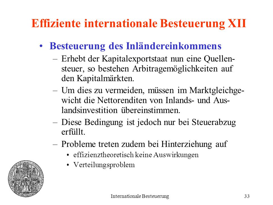 Effiziente internationale Besteuerung XII
