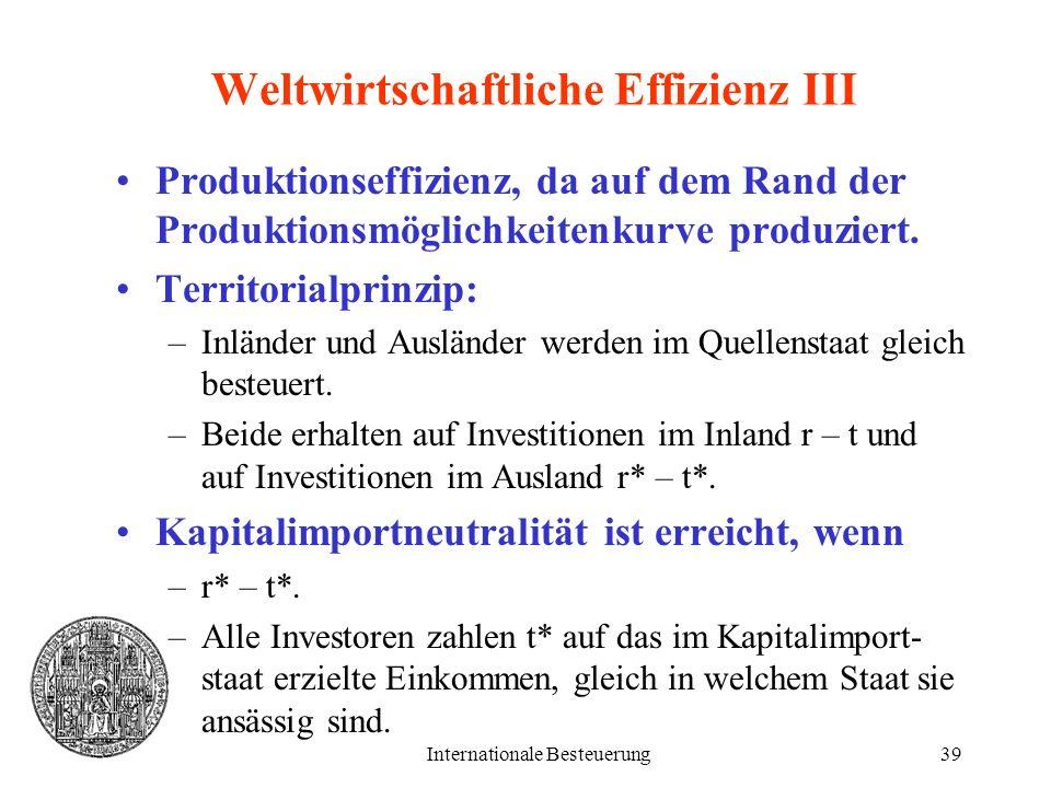 Weltwirtschaftliche Effizienz III