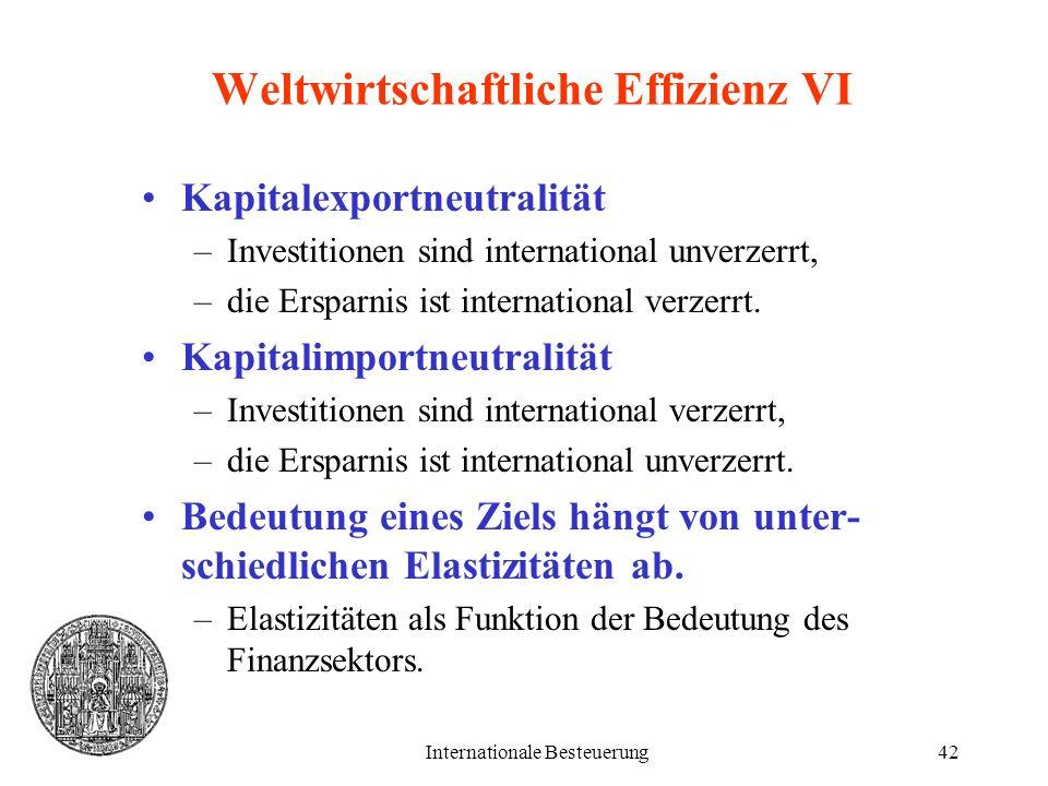 Weltwirtschaftliche Effizienz VI