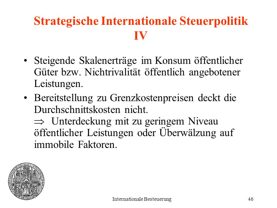 Strategische Internationale Steuerpolitik IV