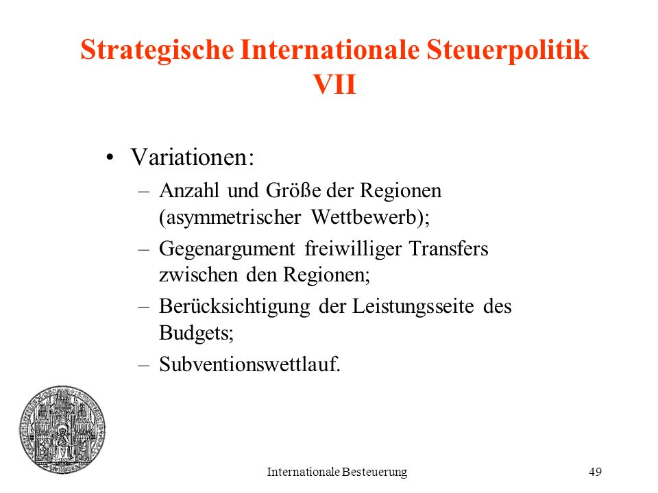 Strategische Internationale Steuerpolitik VII