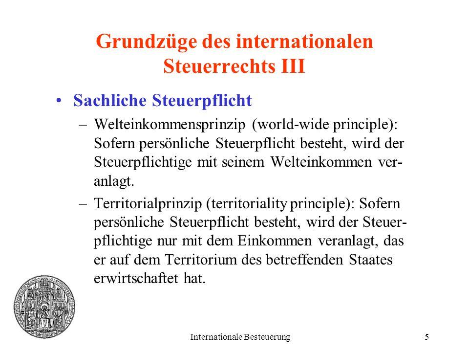 Grundzüge des internationalen Steuerrechts III