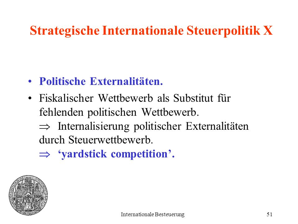 Strategische Internationale Steuerpolitik X