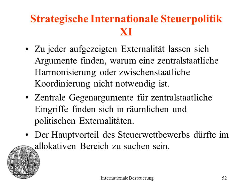 Strategische Internationale Steuerpolitik XI