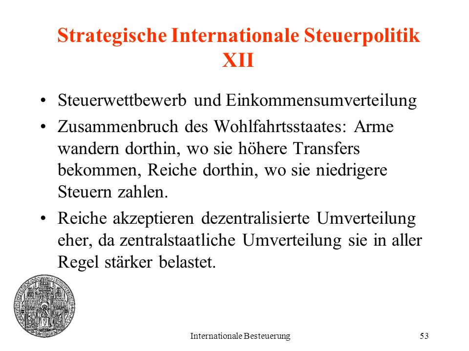 Strategische Internationale Steuerpolitik XII
