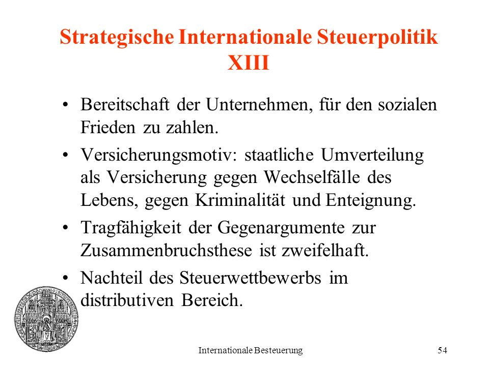 Strategische Internationale Steuerpolitik XIII