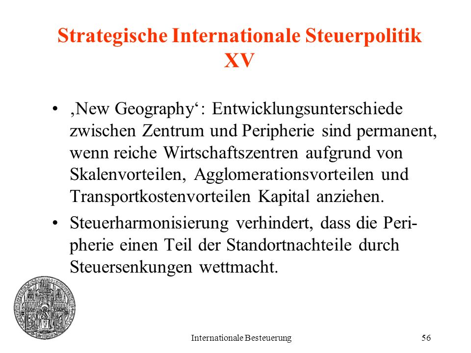 Strategische Internationale Steuerpolitik XV