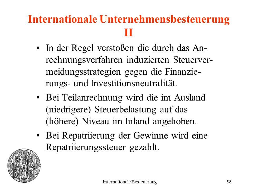 Internationale Unternehmensbesteuerung II